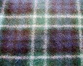 1960's Heavy Wool Blue Plaid Fabric Piece, Blanket Weight, Blue, Green, Plaid, Check, Woolrich, Wool, Heavy Wool, Thick, 1960, Fabric Piece