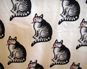 1980'Ss Kliban Cat with lipstick Sheet Fabric, Bed Sheet, Flat Sheet, Kliban, B Kliban, Bernard, Cat, Cotton Poly Blend, Black, White