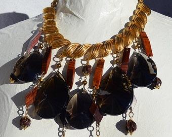 Modernist Smoke Glass Chandelier Crystals Teak Wood Beads Leaf Chain Necklace