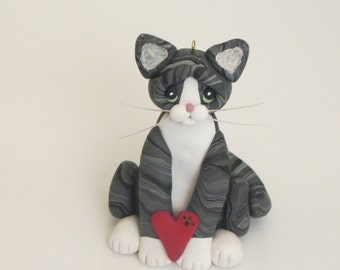 Gray Tabby Cat Valentines Figurine Chrismas Ornament Polymer Clay