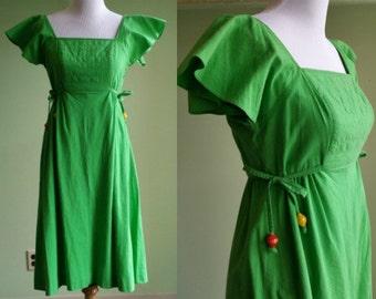 1970s Flutter Sleeve Green Side Tie Dress - Vintage 60s 70s Hippie Dress - Small / Medium