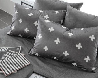 """White Cross Smooth Minky Fabric - White Cross on Dark Gray - 59"""" Wide - By the Yard 95085"""