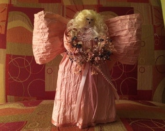 BLONDIE - Blonde Haired Pink Flower Angel by Annabelle's Angels