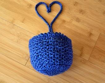 Blue Hat - Baby Bonnet - Blue Bonnet - 3+ Months Infant Boy Blue Bonnet - Infant Boy Baby Bonnet - Hand Crocheted Bonnet with Ties