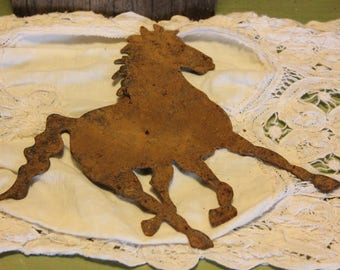 Rustic Metal Horse Sign Country Farmhouse Barn Shed Home Decor Vintage 1980s 80s (K)