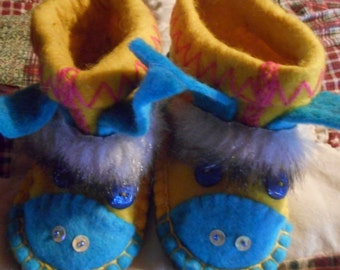 Childrens felt donkey shoes, adorable, one of a kind