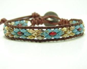 Picasso Super Duo Beaded Leather Wrap Bracelet, Southwestern Style Wrap, Blue Superduo Beaded Wrap Bracelet, Beaded Bracelet
