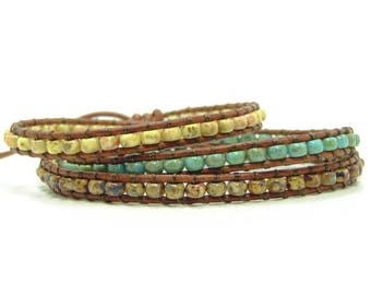 Blue & Brown Tribal Style Seed Bead Leather Wrap Bracelet, Multicolor Seed Bead Beaded Wrap Bracelet, Southwest Style Triple Wrap Bracelet