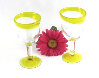 Tall Hand Blown Yellow Glass Goblets - Glasses Pair - Unique Wine Glasses - Vintage Home Decor