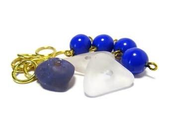 Sea Glass Beads, Nice Ice, Beach Glass, Leland Bluestone, Bluestone Bead, Vintage Beads, Glass Beads, Gold Plate, Jump Rings, Supply, DIY
