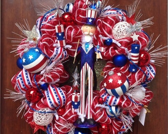 Large Patriotic Wreath with Uncle Sam