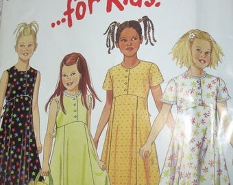 NEW LOOK Easy for Kids Pattern 6741 for Childs Dress in Sizes 4-9