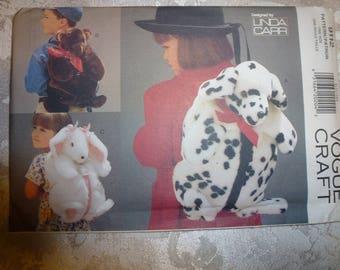 VINTAGE Vogue Craft Pattern 9112 Designed by Linda Carr for Three Fake Fur Backpacks *Bear *Bunny *Dog