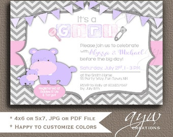 Hippopotamus Baby Shower Invitation for Girl Baby Shower Invitations Hippo Printable Invites Baby Shower Hippo Girl Baby Shower Chevron