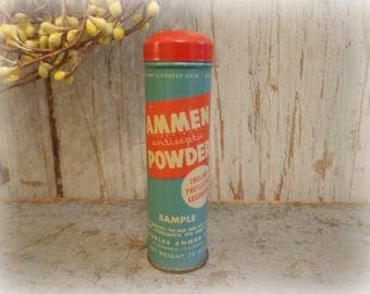 vintage baby powder tin / ammen antiseptic baby powder / rare 1940's advertising sample with full contents