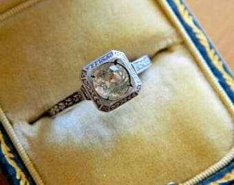 Art Deco Period Engagement Ring,  Art Deco Paste Engagement Ring, Antique Engagement Ring