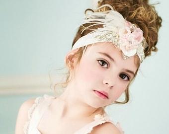 Brand New! Crystal Flower rosette headband Vintage Lux Rose Blush pinks & Ivory Cream rhinestone wedding headband