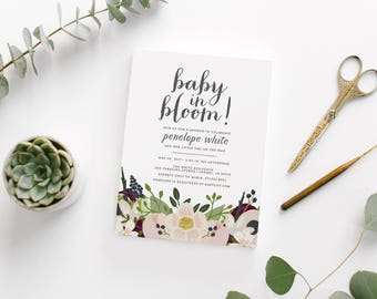 Printable Baby In Bloom Baby Shower Invitation • Custom Baby Shower Invite • Floral Calligraphy Shower Invitation • Spring Flower Invitation