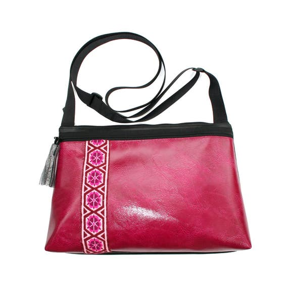 fuschia pink vinyl, vintage trim, boho, medium crossbody, vegan leather, zipper top, tassel