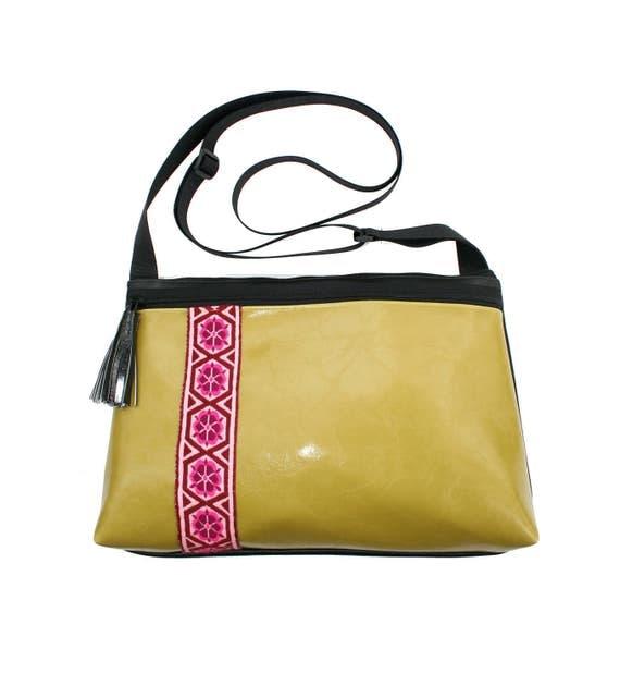 yellow green vinyl, vintage trim, boho, medium crossbody, vegan leather, zipper top, tassel
