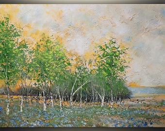 Birch Trees and Blue Bells, Oil Painting, Original Art Painting, Landscape painting, Wall Art, Spring, Palette knife Painting by Tatjana