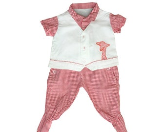 Vintage 50s Gingham Two Piece Outfit | 0-3 Months