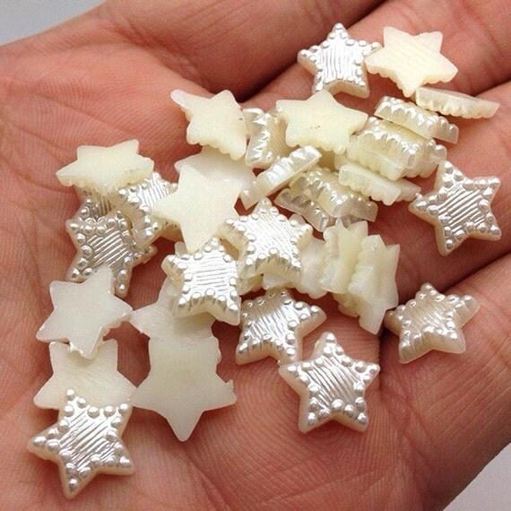 Cream Ivory Flat Back Star (Stripe & Dot Design) Resin Pearls Craft Embellishments