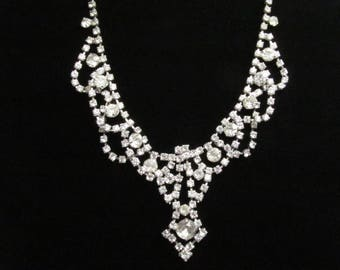 Bridal Rhinestone Necklace; Bridal Jewelry; Vintage Rhinestone; Wedding Jewelry; Wedding Necklace; Bridal Necklace; KalxDesigns