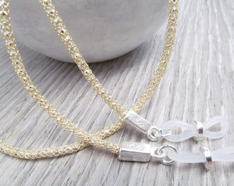 Silver and Gold Mesh Glasses Cord; Spectacles Chain; Gold Glasses Chain; Gold Glasses Leash; Reading Glasses Holder Necklace; Kalxdesigns