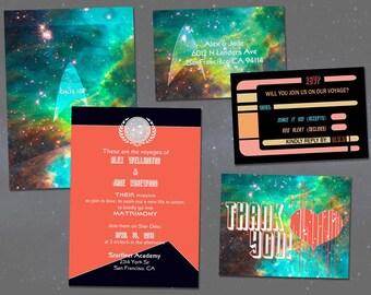 star trek wedding invitation set digital invitations geeky diy wedding - Nerdy Wedding Invitations