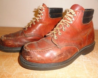 Men's Vintage Brown Leather RED WINGS Moc-Toe Work Safety Boots Sz-10.5 EE