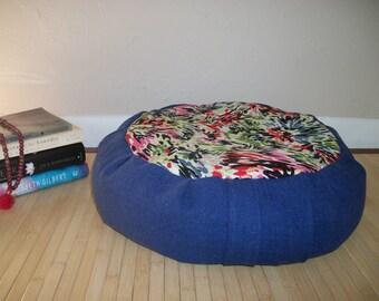 "Blue Floral Zafu Meditation Cushion. Dorm/Floor Pillow. Buckwheat Hull filled. O.O.A.K. 6"" L. Sidewall velcro closure. 15x5. Handmade USA"