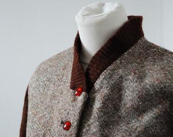 VINTAGE tweed jacket bomber teddy handmade 1950s size M (FR38/UK10/US 8)