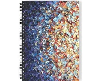 """Abstract Art Notebook, Spiral Notebook, Expressionist Notepad, Daily Planner, Colorful Journal, Fun Memo Pad, 6x8"""" Small Spiral Journal"""