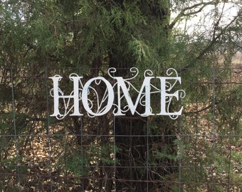 "White HOME Metal Sign, 16"" Long Wall Decor,  Shabby Cottage Chic Wall Words"