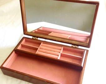 Vintage Wood Jewelry Box with Mirror. Mele Wood Jewelry Box.