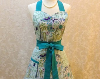 Sale Retro Elephant Apron Flirty Sweetheart Apron in Assorted Teal Blue Shades Cute Womens Kitchen Apron - Ready to Ship