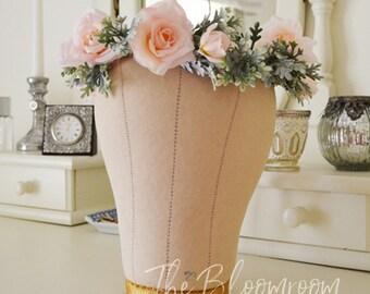 Rose flower crown / Pink rose / Silver / Grey / Pink / Flower crown / Pink rose crown / Earthy flower crown / Bridal flower crown / Woodland