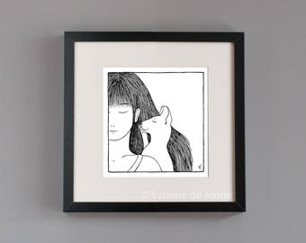 Messenger girl with cat friend black and white illustration glicee print