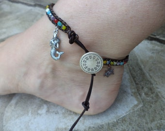Mermaid Anklet Turtle Anklet Mermaid Jewelry Turtle Jewelry Bohemian Anklet Bohemian Jewelry Boho Chic Leather Anklet Leather Jewelry