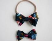 Navy floral RifleCo Piper Headband or Clip