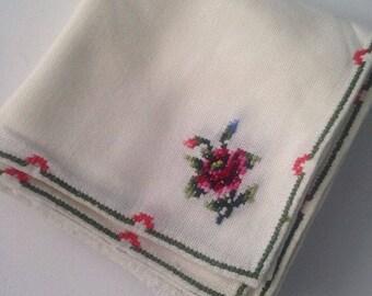 6 Vintage Flower Cross Stitch Napkins 11 X 11