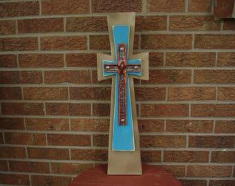 mixed media cross, freestanding cross, mission cross,  unique cross, 1ofakind cross,