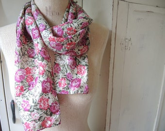 Vintage 1980s silk scarf floral flowers pink 10 x 54 inches