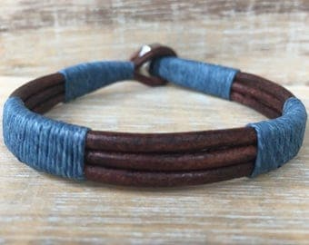 Mens Bracelet, Mens Leather Cuff, Genuine Leather Bracelet, Blue and Brown Bracelet, Unisex Bracelet, Mens Jewelry, Husband Gift, Dad Gift