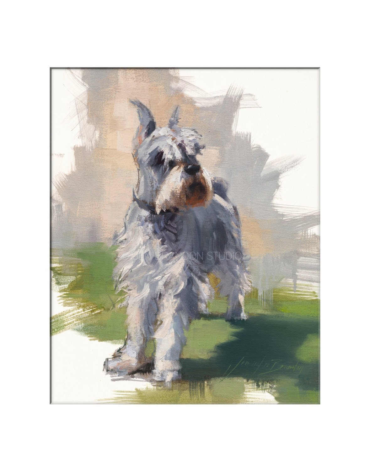 Miniature Schnauzer Dog Art Matted Print Of Original Oil