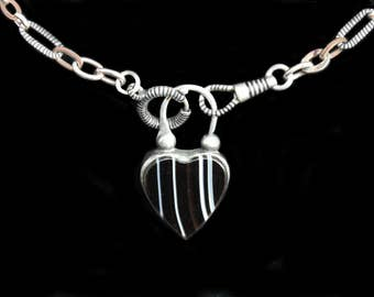 MoonsCuriousItems- Wonderful Victorian Silver Engraved Heart Padlock Side One-Banded Agate Reverse Necklace- Lovely Antique Niello Chain