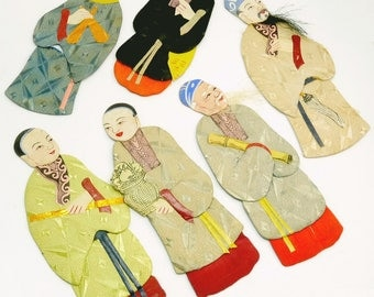 Vintage Japanese Oshie  Dolls Silk Figures Shadow Box Dolls Set Of 6
