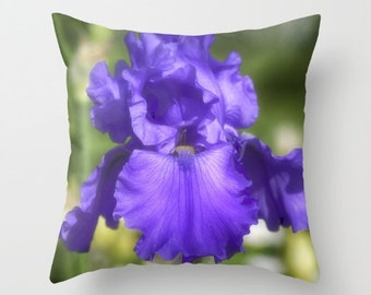 Purple Bearded Iris, Decorative Throw Pillow, Art Throw Pillow, Floral Pillow, Outdoor Pillows, Throw Pillow, Flower Photography
