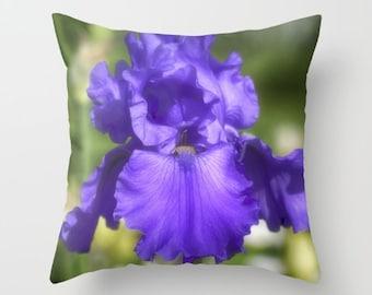 Purple Bearded Iris, Decorative Throw Pillow, Art Throw Pillow, Floral Pillow, Outdoor Pillows, Throw Pillow, Flower Photography